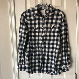 J.crew blue plaid button down shirt small